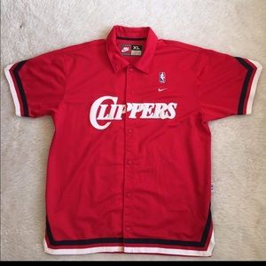 Nike XL NBA Clippers Warm Up Button Down Jersey